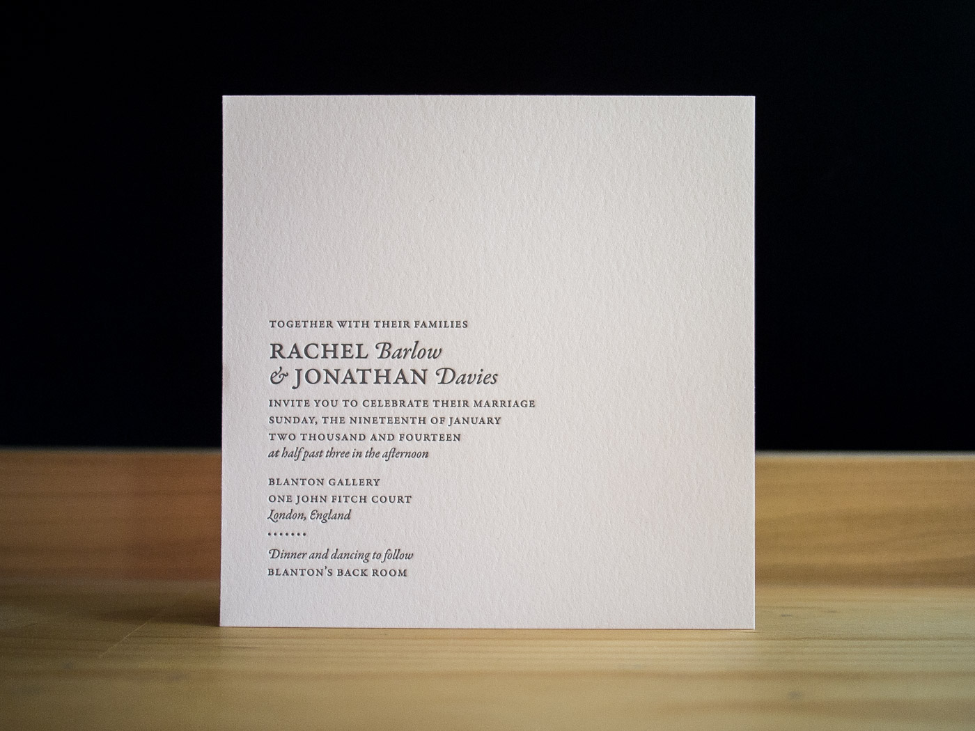 London invitation from Parklife Press