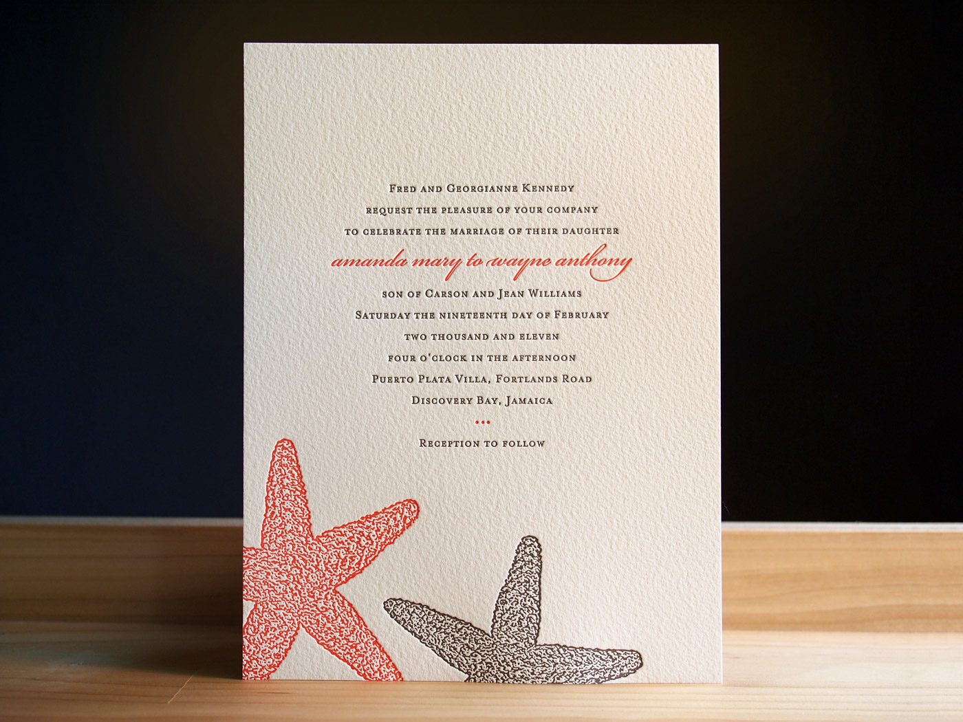 Starfish invitation from Parklife Press